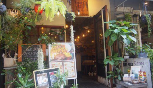 赤坂(福岡)おしゃれカフェ、バルロッサロッサ。緑の癒し空間
